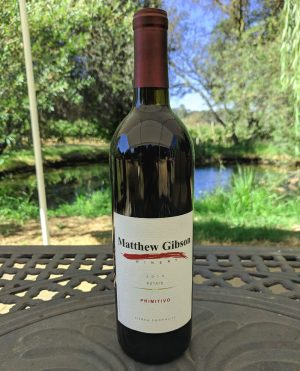 Matthew Gibson Winery located in Sutter Creek, California - 2015 Primitivo Red Wine